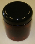 8 oz. Amber Straight Sided Jar with Black Domed lid.  Qty 12